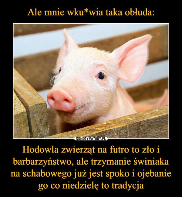 Hodowla zwierząt na futro to zło i barbarzyństwo, ale trzymanie świniaka na schabowego już jest spoko i ojebanie go co niedzielę to tradycja –