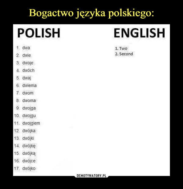 –  polish englishdwa two second