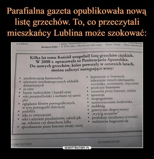 Parafialna gazeta opublikowała nową listę grzechów. To, co przeczytali mieszkańcy Lublina może szokować: