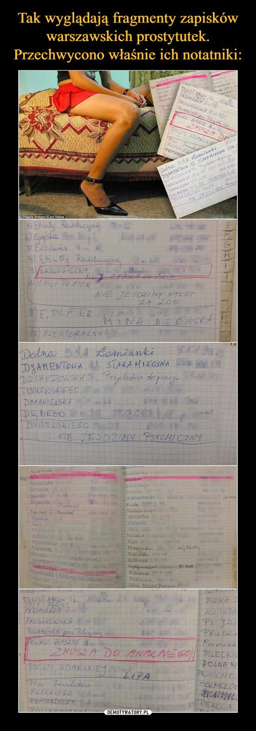 Tak wyglądają fragmenty zapisków warszawskich prostytutek. Przechwycono właśnie ich notatniki: