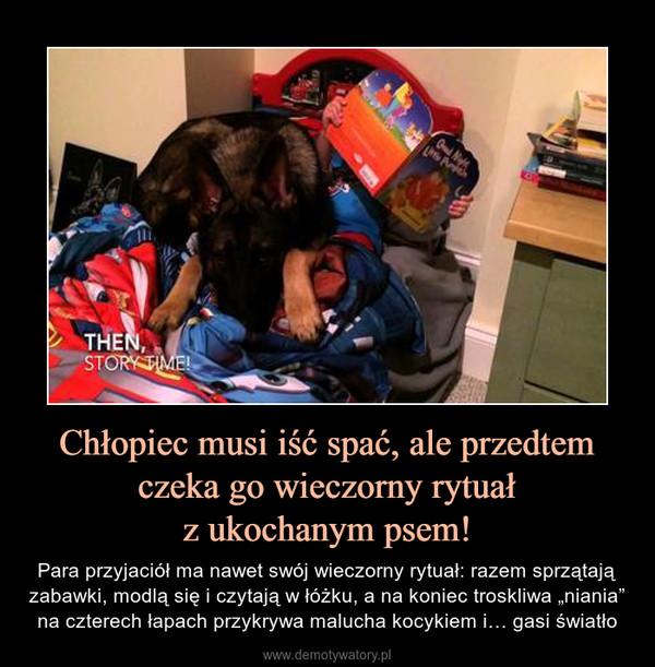 """Chłopiec musi iść spać, ale przedtem czeka go wieczorny rytuałz ukochanym psem! – Para przyjaciół ma nawet swój wieczorny rytuał: razem sprzątają zabawki, modlą się i czytają w łóżku, a na koniec troskliwa """"niania"""" na czterech łapach przykrywa malucha kocykiem i… gasi światło"""