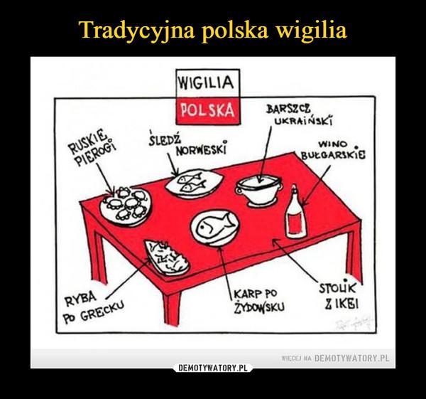 –  ruskie pierogi śledź norweski barszcz ukraiński wino bułgarskie ryba po grecku karp po żydowsku stolik z ikei