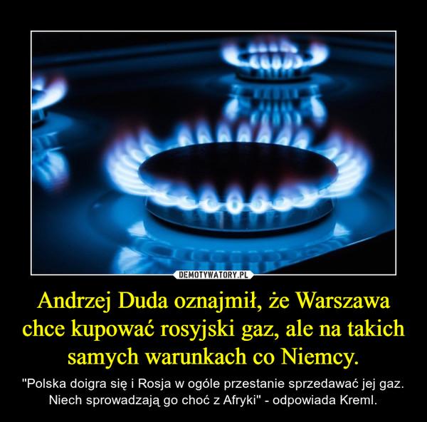 Andrzej Duda oznajmił, że Warszawa chce kupować rosyjski gaz, ale na takich samych warunkach co Niemcy. – ''Polska doigra się i Rosja w ogóle przestanie sprzedawać jej gaz. Niech sprowadzają go choć z Afryki'' - odpowiada Kreml.