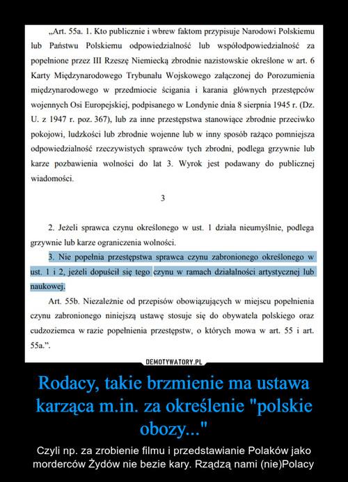 """Rodacy, takie brzmienie ma ustawa karząca m.in. za określenie """"polskie obozy..."""""""