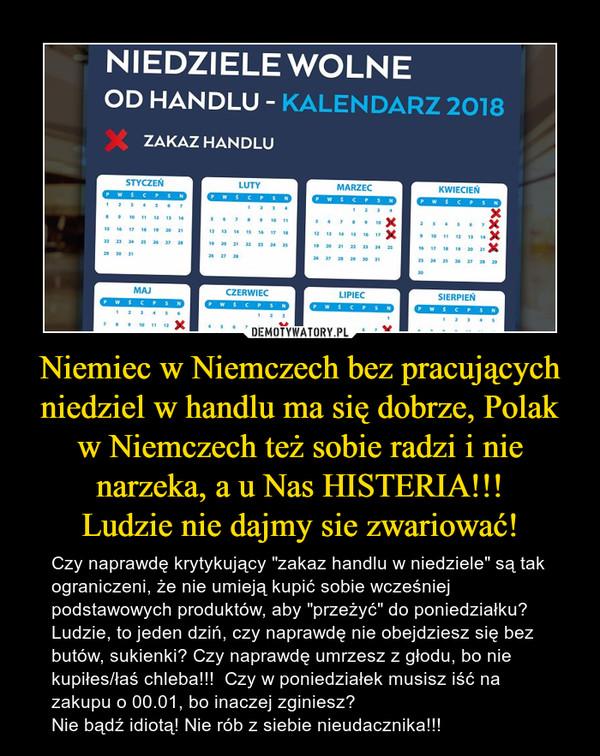 """Niemiec w Niemczech bez pracujących niedziel w handlu ma się dobrze, Polak w Niemczech też sobie radzi i nie narzeka, a u Nas HISTERIA!!!Ludzie nie dajmy sie zwariować! – Czy naprawdę krytykujący """"zakaz handlu w niedziele"""" są tak ograniczeni, że nie umieją kupić sobie wcześniej podstawowych produktów, aby """"przeżyć"""" do poniedziałku?Ludzie, to jeden dziń, czy naprawdę nie obejdziesz się bez butów, sukienki? Czy naprawdę umrzesz z głodu, bo nie kupiłes/łaś chleba!!!  Czy w poniedziałek musisz iść na zakupu o 00.01, bo inaczej zginiesz?Nie bądź idiotą! Nie rób z siebie nieudacznika!!!"""