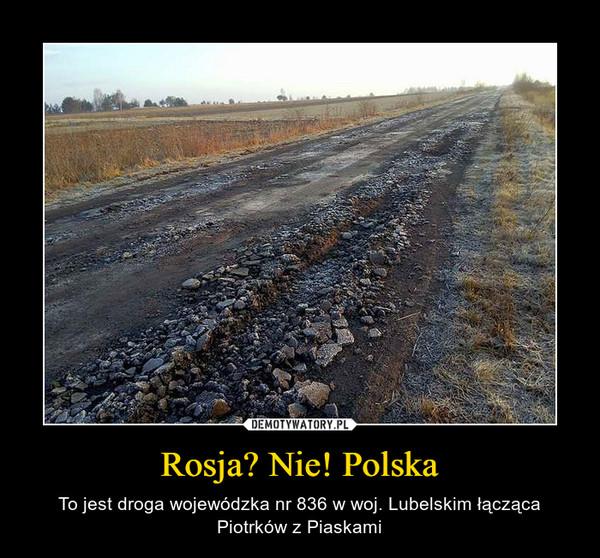Rosja? Nie! Polska – To jest droga wojewódzka nr 836 w woj. Lubelskim łącząca Piotrków z Piaskami