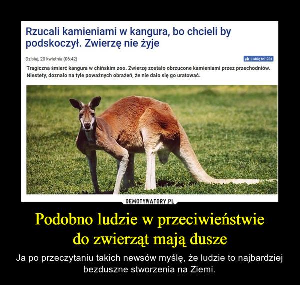 Podobno ludzie w przeciwieństwiedo zwierząt mają dusze – Ja po przeczytaniu takich newsów myślę, że ludzie to najbardziej bezduszne stworzenia na Ziemi. Rzucali kamieniami w kangura, bo chcieli by podskoczył. Zwierzę nie żyjeTragiczna śmierć kangura w chińskim zoo. Zwierzę zostało obrzucone kamieniami przez przechodniów. Niestety, doznało na tyle poważnych obrażeń, że nie dało się go uratować.