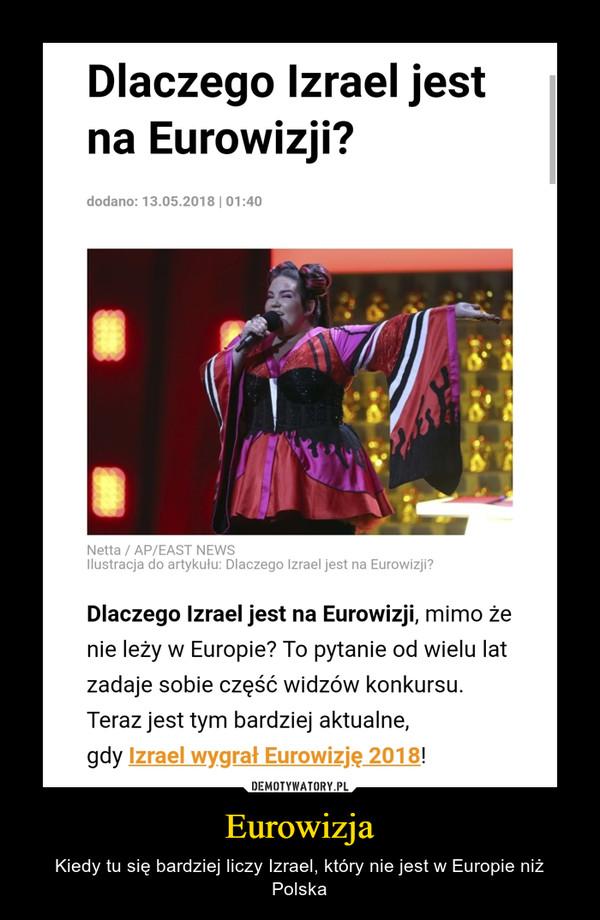Eurowizja – Kiedy tu się bardziej liczy Izrael, który nie jest w Europie niż Polska