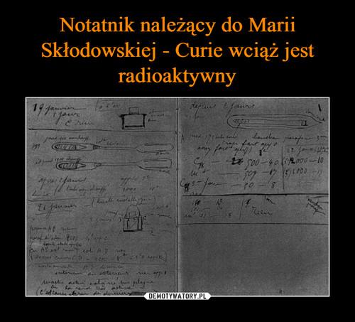 Notatnik należący do Marii Skłodowskiej - Curie wciąż jest radioaktywny