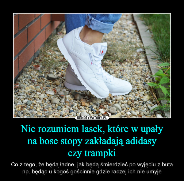 Nie rozumiem lasek, które w upałyna bose stopy zakładają adidasyczy trampki – Co z tego, że będą ładne, jak będą śmierdzieć po wyjęciu z buta np. będąc u kogoś gościnnie gdzie raczej ich nie umyje