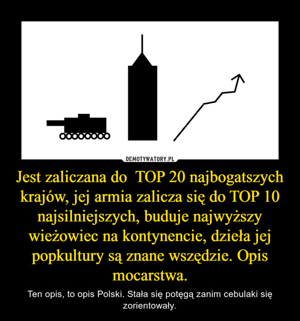 Jest zaliczana do  TOP 20 najbogatszych krajów, jej armia zalicza się do TOP 10 najsilniejszych, buduje najwyższy wieżowiec na kontynencie, dzieła jej popkultury są znane wszędzie. Opis mocarstwa. – Ten opis, to opis Polski. Stała się potęgą zanim cebulaki się zorientowały.