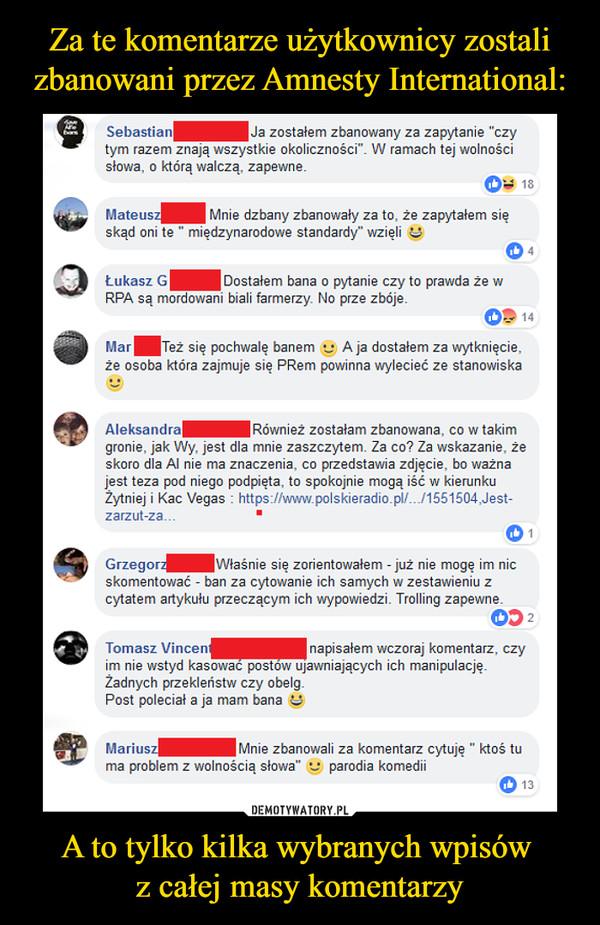Za te komentarze użytkownicy zostali zbanowani przez Amnesty International: A to tylko kilka wybranych wpisów  z całej masy komentarzy