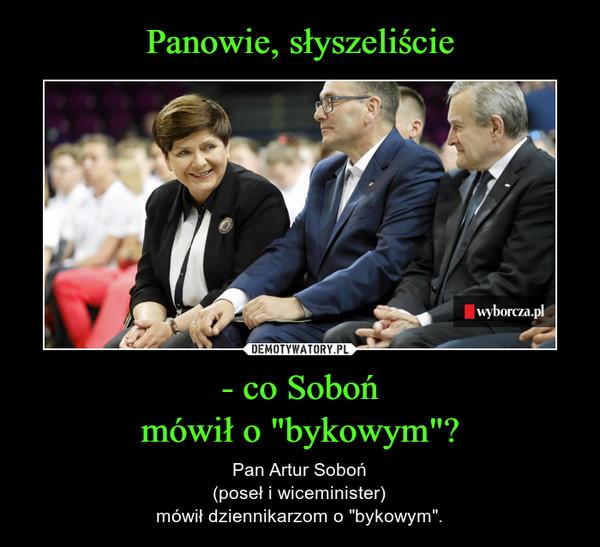 """- co Sobońmówił o """"bykowym""""? – Pan Artur Soboń(poseł i wiceminister)mówił dziennikarzom o """"bykowym""""."""