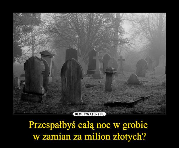 Przespałbyś całą noc w grobie w zamian za milion złotych? –