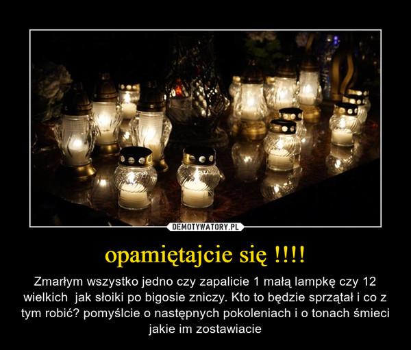 opamiętajcie się !!!! – Zmarłym wszystko jedno czy zapalicie 1 małą lampkę czy 12 wielkich  jak słoiki po bigosie zniczy. Kto to będzie sprzątał i co z tym robić? pomyślcie o następnych pokoleniach i o tonach śmieci jakie im zostawiacie