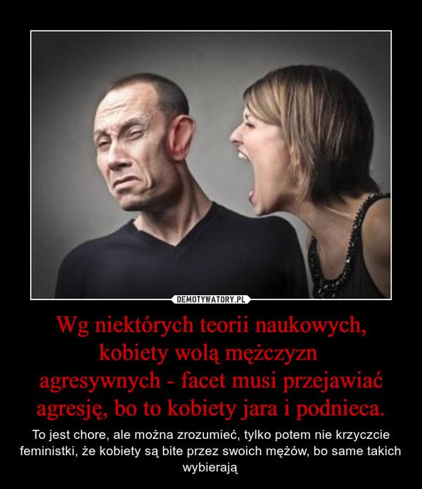 Wg niektórych teorii naukowych, kobiety wolą mężczyzn agresywnych - facet musi przejawiać agresję, bo to kobiety jara i podnieca. – To jest chore, ale można zrozumieć, tylko potem nie krzyczcie feministki, że kobiety są bite przez swoich mężów, bo same takich wybierają