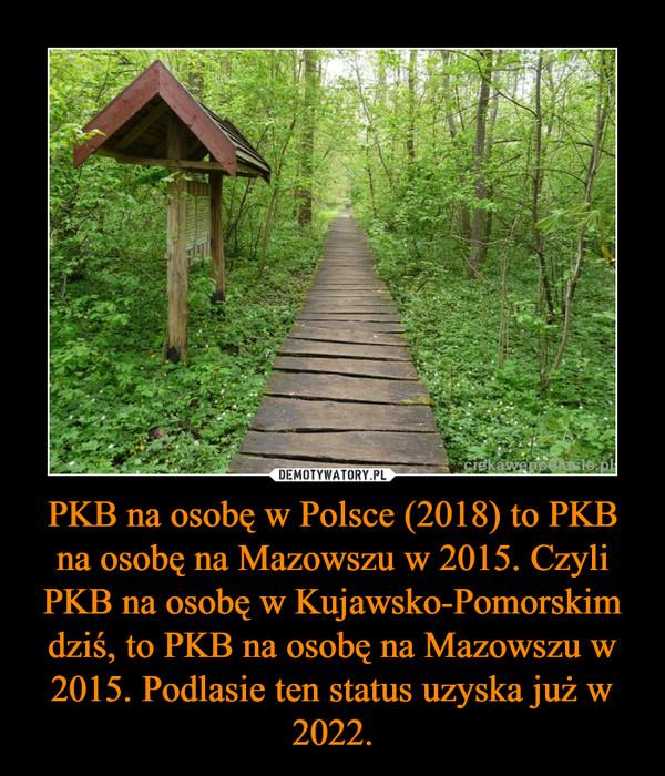 PKB na osobę w Polsce (2018) to PKB na osobę na Mazowszu w 2015. Czyli PKB na osobę w Kujawsko-Pomorskim dziś, to PKB na osobę na Mazowszu w 2015. Podlasie ten status uzyska już w 2022. –