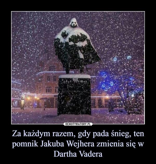 Za każdym razem, gdy pada śnieg, ten pomnik Jakuba Wejhera zmienia się w Dartha Vadera