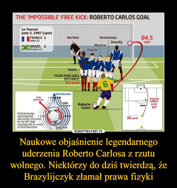 Naukowe objaśnienie legendarnego uderzenia Roberto Carlosa z rzutu wolnego. Niektórzy do dziś twierdzą, że Brazylijczyk złamał prawa fizyki –