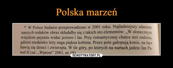 """–  W Polsce badanie przeprowadzono w 2001 roku. Najładniejszy zdaniem naszych rodaków obraz składałby się z takich oto elementów: """"W słonecznym wiejskim pejzażu widać jezioro i las. Przy romantycznej chatce stoi rodzina, gdzieś niedaleko leży naga piękna kobieta. Przez pole galopują konie, na łące bawią się dzieci i zwierzęta. W tle góry, po których na nartach jedzie Jan Paweł II, Wprost"""