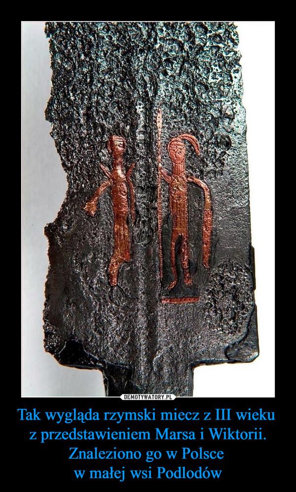 Tak wygląda rzymski miecz z III wieku z przedstawieniem Marsa i Wiktorii. Znaleziono go w Polsce w małej wsi Podlodów –