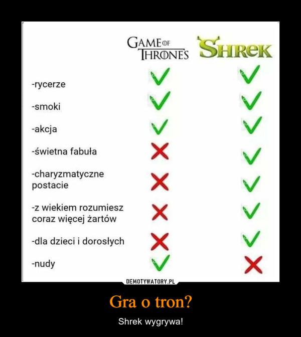 Gra o tron? – Shrek wygrywa! GAMEoFTHRONESrycerze-smoki-akcja-świetna fabuła-charyzmatycznepostacie-z wiekiem rozumieszcoraz więcej żartów-dla dzieci i dorosłychnudy