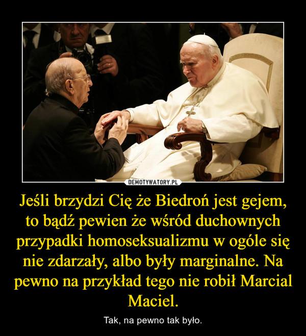 Jeśli brzydzi Cię że Biedroń jest gejem, to bądź pewien że wśród duchownych przypadki homoseksualizmu w ogóle się nie zdarzały, albo były marginalne. Na pewno na przykład tego nie robił Marcial Maciel. – Tak, na pewno tak było.