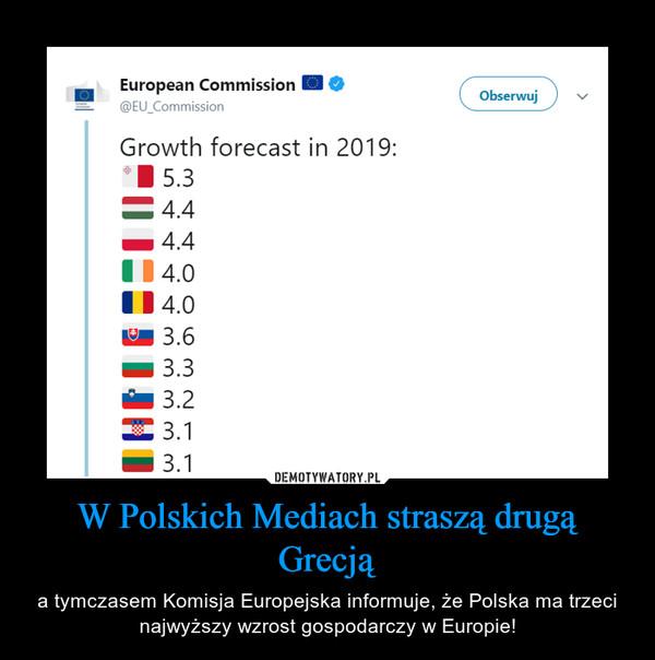W Polskich Mediach straszą drugą Grecją – a tymczasem Komisja Europejska informuje, że Polska ma trzeci najwyższy wzrost gospodarczy w Europie!