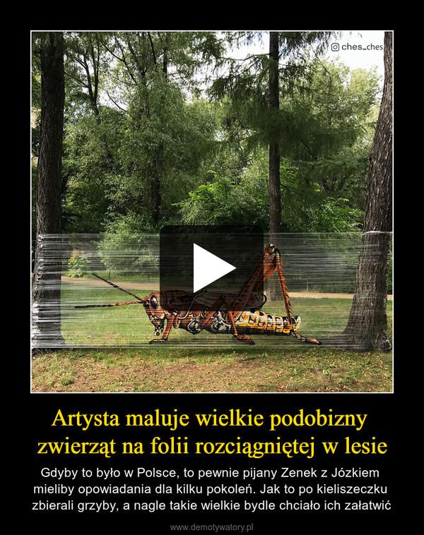Artysta maluje wielkie podobizny zwierząt na folii rozciągniętej w lesie – Gdyby to było w Polsce, to pewnie pijany Zenek z Józkiem mieliby opowiadania dla kilku pokoleń. Jak to po kieliszeczku zbierali grzyby, a nagle takie wielkie bydle chciało ich załatwić