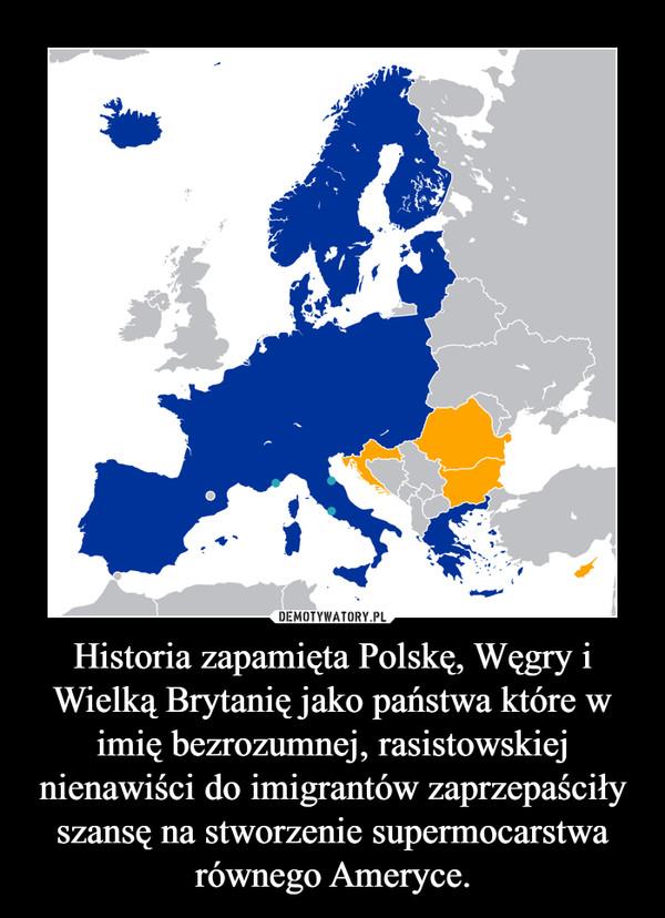Historia zapamięta Polskę, Węgry i Wielką Brytanię jako państwa które w imię bezrozumnej, rasistowskiej nienawiści do imigrantów zaprzepaściły szansę na stworzenie supermocarstwa równego Ameryce. –
