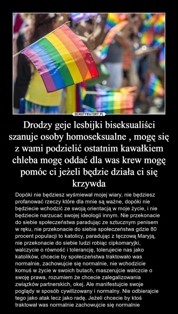 Drodzy geje lesbijki biseksualiści szanuje osoby homoseksualne , mogę się z wami podzielić ostatnim kawałkiem chleba mogę oddać dla was krew mogę pomóc ci jeżeli będzie działa ci się krzywda – Dopóki nie będziesz wyśmiewał mojej wiary, nie będziesz profanować rzeczy które dla mnie są ważne, dopóki nie będziecie wchodzić ze swoją orientacją w moje życie, i nie będziecie narzucać swojej ideologii innym. Nie przekonacie do siebie społeczeństwa paradując ze sztucznym penisem w ręku, nie przekonacie do siebie społeczeństwa gdzie 80 procent populacji to katolicy, paradując z tęczową Maryją, nie przekonacie do siebie ludzi robiąc cipkomaryjki, walczycie o równość i tolerancję, tolerujecie nas jako katolików, chcecie by społeczeństwa traktowało was normalnie, zachowujcie się normalnie, nie wchodzicie komuś w życie w swoich butach, maszerujcie walczcie o swoję prawa, rozumiem że chcecie zalegalizowania związków partnerskich, okej. Ale manifestujcie swoje poglądy w sposób cywilizowany i normalny. Nie odbierajcie tego jako atak lecz jako radę. Jeżeli chcecie by ktoś traktował was normalnie zachowujcie się normalnie