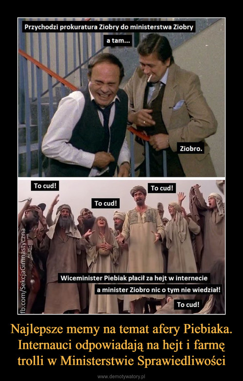Najlepsze memy na temat afery Piebiaka. Internauci odpowiadają na hejt i farmę trolli w Ministerstwie Sprawiedliwości
