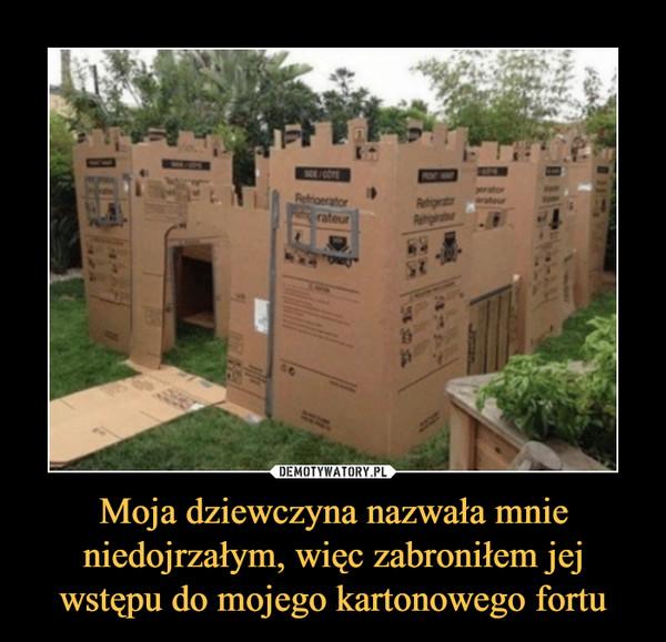 Moja dziewczyna nazwała mnie niedojrzałym, więc zabroniłem jej wstępu do mojego kartonowego fortu –