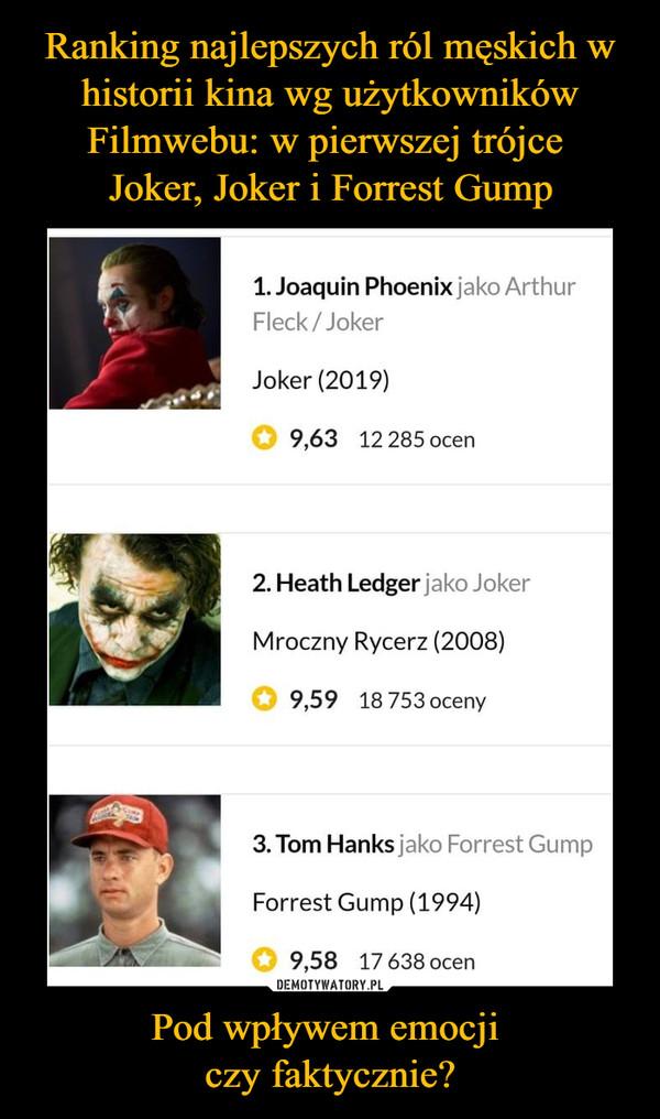 Pod wpływem emocji czy faktycznie? –  Joaquin Phoenix jako Artur Fleck Joker Heath Ledger jako Joker Tom Hanks jako Forrest Gump