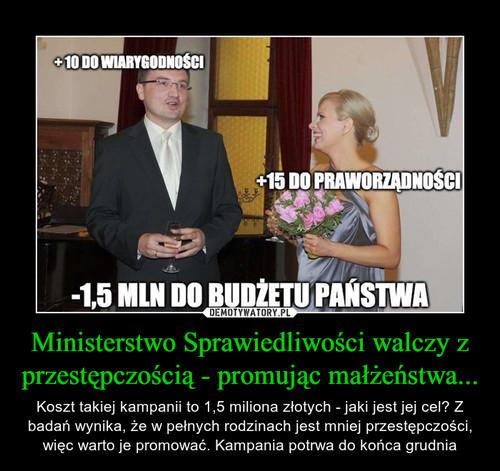 Ministerstwo Sprawiedliwości walczy z przestępczością - promując małżeństwa...