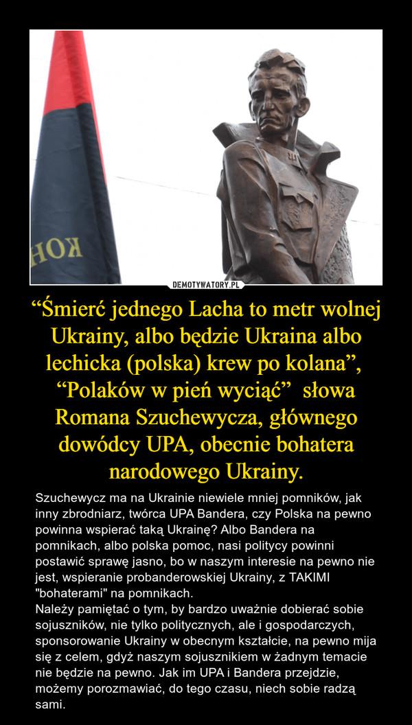 """""""Śmierć jednego Lacha to metr wolnej Ukrainy, albo będzie Ukraina albo lechicka (polska) krew po kolana"""",  """"Polaków w pień wyciąć""""  słowa Romana Szuchewycza, głównego dowódcy UPA, obecnie bohatera narodowego Ukrainy. – Szuchewycz ma na Ukrainie niewiele mniej pomników, jak inny zbrodniarz, twórca UPA Bandera, czy Polska na pewno powinna wspierać taką Ukrainę? Albo Bandera na pomnikach, albo polska pomoc, nasi politycy powinni postawić sprawę jasno, bo w naszym interesie na pewno nie jest, wspieranie probanderowskiej Ukrainy, z TAKIMI """"bohaterami"""" na pomnikach. Należy pamiętać o tym, by bardzo uważnie dobierać sobie sojuszników, nie tylko politycznych, ale i gospodarczych, sponsorowanie Ukrainy w obecnym kształcie, na pewno mija się z celem, gdyż naszym sojusznikiem w żadnym temacie nie będzie na pewno. Jak im UPA i Bandera przejdzie, możemy porozmawiać, do tego czasu, niech sobie radzą sami."""
