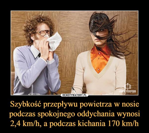 Szybkość przepływu powietrza w nosie podczas spokojnego oddychania wynosi 2,4 km/h, a podczas kichania 170 km/h –