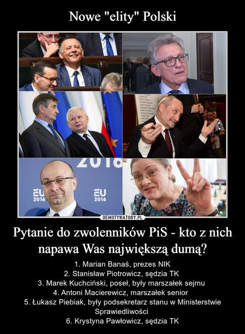 """Nowe """"elity"""" Polski Pytanie do zwolenników PiS - kto z nich napawa Was największą dumą?"""