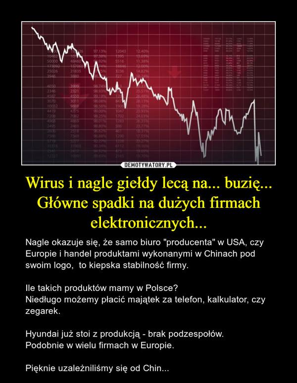 """Wirus i nagle giełdy lecą na... buzię...Główne spadki na dużych firmach elektronicznych... – Nagle okazuje się, że samo biuro """"producenta"""" w USA, czy Europie i handel produktami wykonanymi w Chinach pod swoim logo,  to kiepska stabilność firmy. Ile takich produktów mamy w Polsce?Niedługo możemy płacić majątek za telefon, kalkulator, czy zegarek.Hyundai już stoi z produkcją - brak podzespołów. Podobnie w wielu firmach w Europie.Pięknie uzależniliśmy się od Chin..."""