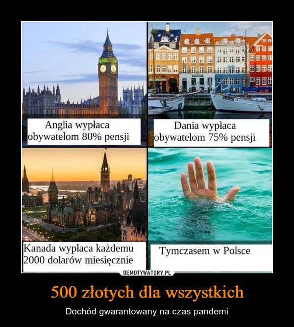 500 złotych dla wszystkich – Dochód gwarantowany na czas pandemi 86VSAnglia wypłacaobywatelom 80% pensjiDania wypłacaobywatelom 75% pensjiKanada wypłaca każdemu2000 dolarów miesięcznieTymczasem w Polsce