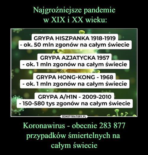 Najgroźniejsze pandemie  w XIX i XX wieku: Koronawirus - obecnie 283 877 przypadków śmiertelnych na  całym świecie