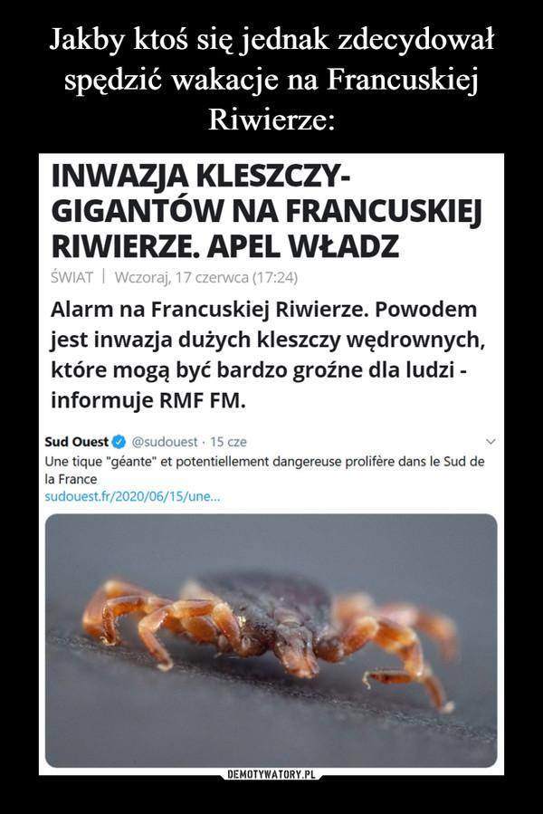 """–  INWAZJA KLESZCZY-GIGANTÓW NA FRANCUSKIEJRIWIERZE. APEL WŁADZŚWIAT I Wczoraj, 17 czerwca (17:24)Alarm na Francuskiej Riwierze. Powodemjest inwazja dużych kleszczy wędrownych,które mogą być bardzo groźne dla ludzi -informuje RMF FM.Sud Ouest @sudouest · 15 czeUne tique """"géante"""" et potentiellement dangereuse prolifère dans le Sud dela Francesudouest.fr/2020/06/15/une..."""