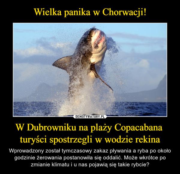 W Dubrowniku na plaży Copacabana turyści spostrzegli w wodzie rekina – Wprowadzony został tymczasowy zakaz pływania a ryba po około godzinie żerowania postanowiła się oddalić. Może wkrótce po zmianie klimatu i u nas pojawią się takie rybcie?