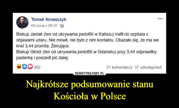 Najkrótsze podsumowanie stanu Kościoła w Polsce