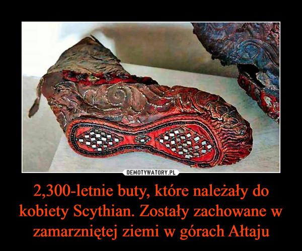 2,300-letnie buty, które należały do kobiety Scythian. Zostały zachowane w zamarzniętej ziemi w górach Ałtaju