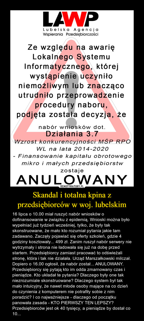 Skandal i totalna kpina z przedsiębiorców w woj. lubelskim