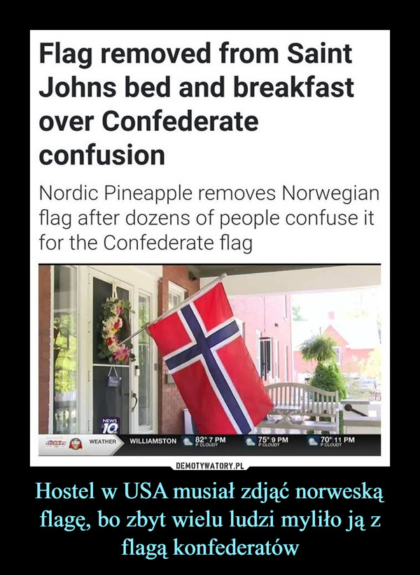 Hostel w USA musiał zdjąć norweską flagę, bo zbyt wielu ludzi myliło ją z flagą konfederatów –  Flag removed from SaintJohns bed and breakfastover ConfederateconfusionNordic Pineapple removes Norwegianflag after dozens of people confuse itfor the Confederate flag