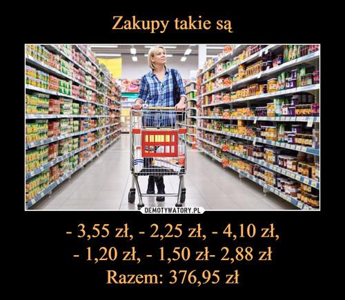 Zakupy takie są - 3,55 zł, - 2,25 zł, - 4,10 zł, - 1,20 zł, - 1,50 zł- 2,88 zł Razem: 376,95 zł