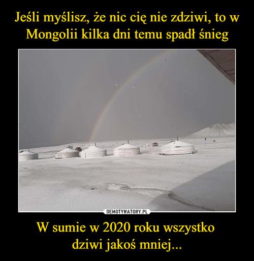 Jeśli myślisz, że nic cię nie zdziwi, to w Mongolii kilka dni temu spadł śnieg W sumie w 2020 roku wszystko  dziwi jakoś mniej...
