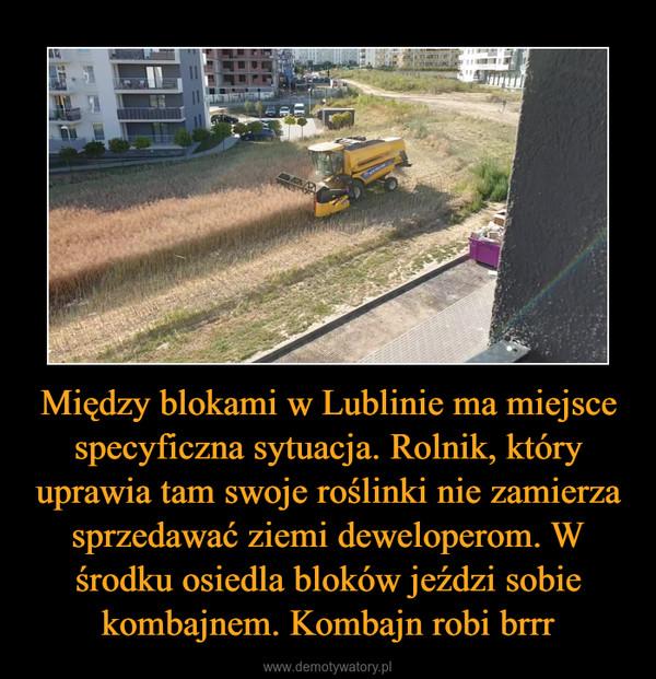 Między blokami w Lublinie ma miejsce specyficzna sytuacja. Rolnik, który uprawia tam swoje roślinki nie zamierza sprzedawać ziemi deweloperom. W środku osiedla bloków jeździ sobie kombajnem. Kombajn robi brrr –